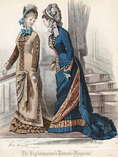 April fashions, 1877 England, The Englishwoman's Domestic Magazine    Love the color blue of the one on the right.