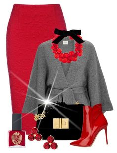 Red & Grey Posh Contest A fashion look from December 2017 by shamrockclover featuring Le Kasha, Gianvito Rossi, Dries Van Noten, Kate Spade and ncLA Stylish Work Outfits, Classy Outfits, Stylish Outfits, Mode Outfits, Fall Outfits, Work Fashion, Fashion Looks, Modelos Fashion, Looks Chic