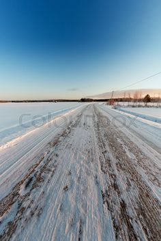 Icy Road On A Winter Morning - An empty road is covered with ice in the rural Finland. The cold weather turns the roads slippery in these parts of the country. Empty Road, Winter Images, Royalty Free Pictures, High Resolution Picture, Morning Images, Unique Photo, Finland, Roads, Cold Weather