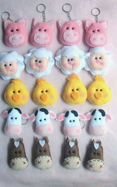 Farm Animal Birthday, Farm Birthday, Farm Crafts, Diy And Crafts, Owl Wallpaper Iphone, Felt Keychain, Amarillis, Farm Party, Felt Patterns