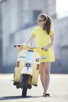Olympia does vespa cool, loving the sherbert lemon dress, so cute