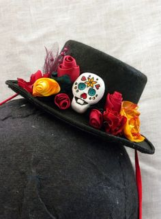 Halloween Hat  Day of the Dead  Miniature by TheLittleAlchemist, $40.00