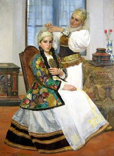 Went to the brukenthal museum in Sibiu in Romania and absolutely fell in love with this painting. It is huge and the traditional wedding dress is breathtaking. I could have stood in front of it for hours. Costume Castle, Most Beautiful Dresses, Traditional Wedding Dresses, Before Wedding, Folk Costume, My Heritage, Ao Dai, American Girl, Culture