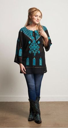 14494772ca033d We are loving this new Roja Collection Traditions Tunic! Such a beautiful  design featuring an array of Turquoise colors and fun sequins!