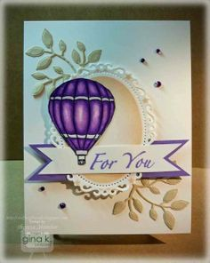 Hot Air Balloon with Spectrum Noir Markers - stampTV Card created by Gina K using her Up and Away Stamp Set