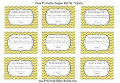 #Free #Printable #Diaper #Raffle #Tickets Plus Matching Sign. Yellow and Grey Chevron background, perfect idea for a raffle on a baby shower.