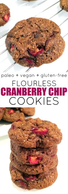 A deliciously guilt-free vegan and paleo cookie free of flour, butter and refined sugar and loaded with fresh cranberries and chocolate chips.