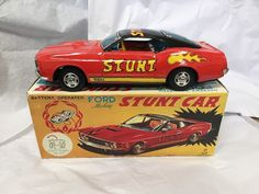 Tin Battery Operated Ford Mustang Mach I Stunt Car TPS Japan + Orig. box. WORKS!