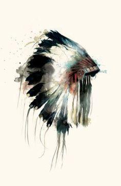Native American Indian headdress watercolor by Amy Hamilton