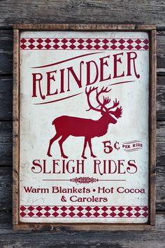 ** Vintage Rustic wooden sign 'Reindeer Sleigh Ride' Christmas Holiday season sign - Rustic Home Christmas Signs, Country Christmas, Christmas Projects, Winter Christmas, Vintage Christmas, Christmas Holidays, Christmas Decorations, Christmas Ideas, Holiday Signs