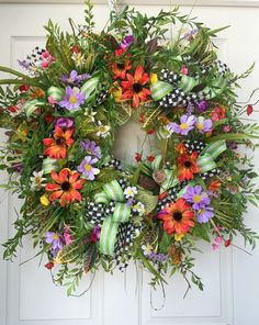 Wildflower Summer Mesh Wreath by WilliamsFloral on Etsy https://www.etsy.com/listing/238671173/wildflower-summer-mesh-wreath