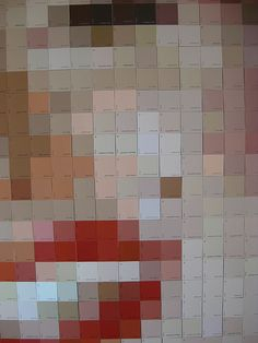 Pixelated Artwork Made from Paint Chips