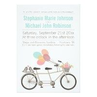 Tandem Bicycle Wedding 5x7 Paper Invitation Card - **EXPLORE some Amazing Wedding Invitation Collection Sets ! - GO TO ... http://WeddingInvitationSets.com/