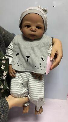 """23/"""" Reborn Baby Doll Realistic Biracial Newborn Black African American Boy Doll"""
