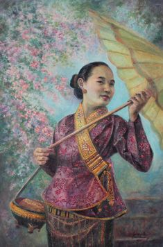 Laos Painting - A Blissful Day by Sompaseuth Chounlamany Laos Culture, Thai Art, Commercial Art, Anime Sketch, Art Drawings Sketches, Stamp Collecting, Wood Print, Color Inspiration, Bliss