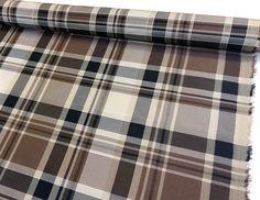Taffetas écossais 50x150cm beige marron : Tissus Ameublement par nadege-tissus