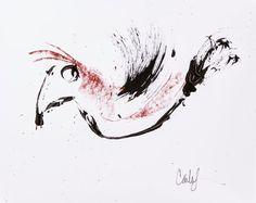 Red Ink Bird by carlasonheim on Etsy