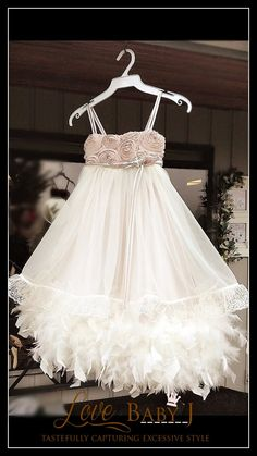 Parisian Soiree... A Satin & Feather Dress For by LoveBabyJCouture