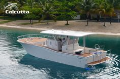 The Calcutta 390 custom fishing catamaran is a great fit for the avid fisherman. Its catamaran hull is designed to take on the roughest waters with ease. Center Console Fishing Boats, Power Catamaran, Boat Lights, Boat Dealer, Deck Boat, Offshore Fishing, Cool Boats, Bass Boat, Fishing Boats