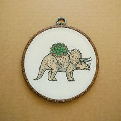 Triceratops Planter with Succulent Hand Embroidery Hoop Art (modern embroidery wall hanging - dinosaur embroidery - cactus embroidery) by ALIFERA on Etsy