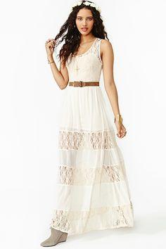 Laced Maxi Dress in Cream