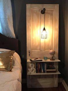 Vintage Door Decor, Old Door Decor, Vintage Doors, Old Door Projects, Home Projects, Furniture Makeover, Diy Furniture, Diy Nightstand, Bedside Tables