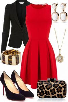 Red skater dress   louboutins. Class