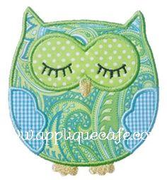 Sleeping Owl Applique Design