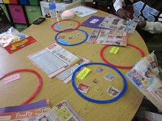 Use sorting circles & Scholastic book order sheets to sort fiction and nonfiction books.