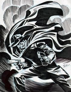 The Shadow by Bruce Timm.  Introduced as a mysterious radio narrator by David Chrisman, William Sweets, and Harry Engman Charlot for Street and Smith Publications, The Shadow was developed fully and transformed into a pop culture icon by pulp writer Walter B. Gibson. The character would go on to become a major influence on the subsequent evolution of comic book superheroes, in particular, Batman.