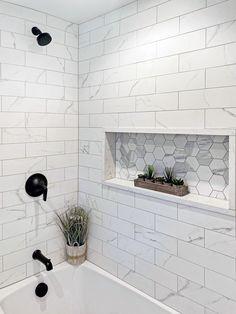 Upstairs Bathrooms, Hall Bathroom, Bathroom Renos, Family Bathroom, Remodel Bathroom, Bathroom Remodeling, Remodeling Ideas, Bathroom Shower Tiles, Master Shower Tile