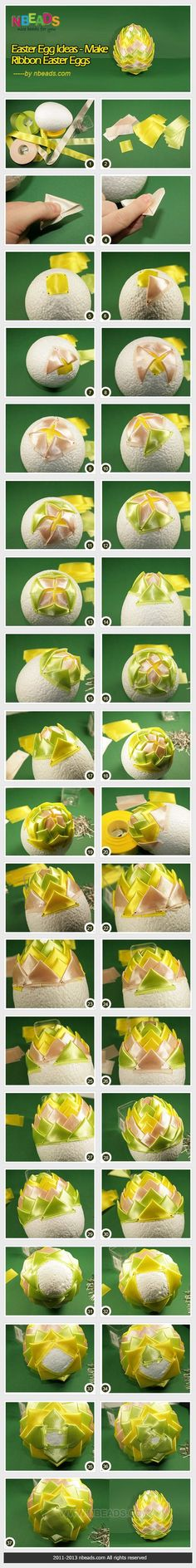 Easter Egg Ideas - Make Ribbon Easter Eggs diy crafts craft ideas diy crafts easter crafts easter diy easter craft Easter Eggs Kids, Making Easter Eggs, Quilted Christmas Ornaments, Christmas Balls, Egg Crafts, Easter Crafts, Spring Crafts, Holiday Crafts, Easter Egg Pictures