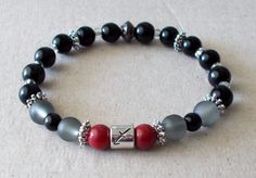 Women's Zodiac Sagittarius Red Black and Smoky Grey Stretch Bracelet by fancyfreeboutique on Etsy