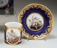 SÈVRES PORCELAIN BLUE GROUND CUP AND SAUCER DATED 1782