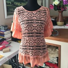 Peach Top Super cute and perfect for summer! Wear it with a tank underneath! Tops Blouses