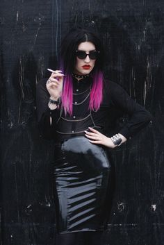Rocking black PVC skirt and sheer too with awesome pink tips x  Wow this girl is actually amazing. On point