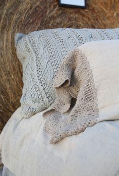 The Lucinda crochet linen sham set- wheat - Junk GYpSy co.
