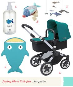 in a little fish world… #aqua #turquoise #stroller #fish #baby #virr