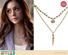 Fizz Candy Labrodite Stacking Necklace worn by Nina Dobrev on The Vampire Diaries Elena Gilbert, Vampire Diaries Jewelry, Vampire Diaries Fashion, Vampire Diaries Stefan, Fandom Jewelry, Pretty Little Liars Fashion, Girl Advice, Stacked Necklaces, Shawl Collar Cardigan