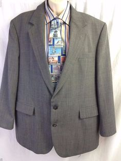 Haggar Imperial Sport Coat Gentleman's Fit Size 46 Gray Windowpane 2 Buttons #HaggarImperial #TwoButton