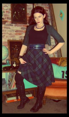 Craft, Thrift, or Die: I Like Plaid Now: part 1 vintage skirt, thigh highs, boots