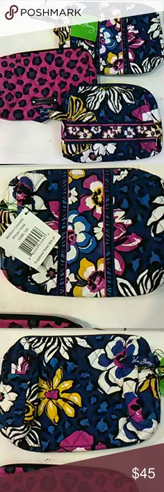 4 pc SET Vera Bradley cosmetics NWOT coin NWT Brand new!  This is four Vera Bradley cosmetic bags.  One is a medium cosmetic in African Violet that is NWT.  Another is a small cosmetic, also African Violet, that is NWOT.  The third is also a small cosmetic in the coordinating pattern that is a purple and blue cheetah print, also NWOT.  The medium cosmetic was $26 and the smalls were close to that.  Finally, a NWT coin purse.  Great set! Vera Bradley Bags Cosmetic Bags & Cases