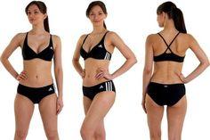 Adidas Swimsuit Ladies, Adidas Ladies 3 Stripes Authentic 2 Piece Swimsuit