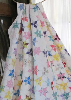 """TINY 3"""" TOUCHING STARS Vintage 30s QUILT 107x80"""""""