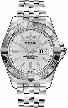 Breitling Galactic 41 Automatic Men's Watch with Silver Dial and Stainless Steel Bezel Set with Diamonds - Lowest Breitling Prices Online Best Kids Watches, Fossil Watches For Men, Best Smart Watches, Swiss Army Watches, Vintage Watches For Men, Stylish Watches, Luxury Watches For Men, Cool Watches, Ladies Watches