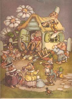 Faeries and Little Folk: Peg Maltby's Fairy Folk Cottage Art, Love Fairy, Fairy Art, Magical Creatures, Children's Book Illustration, Cartoon Drawings, Faeries, Illustrators, Fantasy Art
