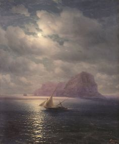 Ukrainian-born Russian-Armenian painter Ivan Konstantinovich Aivazovsky / Ива́н Константи́нович Айвазо́вский (1817-1900) became the most prolific Russian painter of his time. Early in his career, he was elected a member of five Academies of Fine Arts, including those of St. Petersburg (his Alma Mater). Rome, Florence, Stuttgart and Amsterdam.