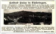 Original-Werbung/ Anzeige 1897 - SOLBAD SULZA IN THÜRINGEN - ca. 100 x 60 mm