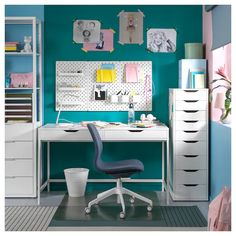 IKEA - ALEX, Drawer unit with 9 drawers, white, High unit with many drawers means plenty of storage on minimum floor space. Drawer stops prevent the drawer from being pulled out too far. Bureau Alex Ikea, Ikea Alex Desk, Ikea Alex Drawers, Study Room Decor, Teen Room Decor, Bedroom Decor, Kids Bedroom, Home Office Design, Home Office Decor