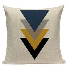 18 inches x 18 inches cm x 45 cm) Burlap / linen material Invisible zipper Cushion not included Geometric Cushions, Geometric Throws, Geometric Pillow, Grey Cushion Covers, Cushion Cover Designs, Yellow Pillow Covers, Sewing Pillows, Diy Pillows, Throw Pillows